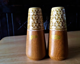 Mid Century Salt and Pepper Shakers, Wood and Ceramic