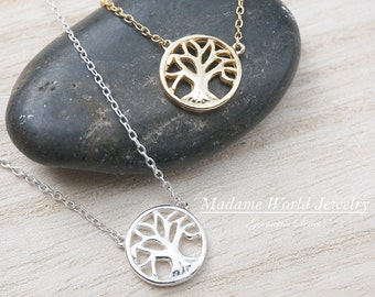 Plain Tree of Life Necklace, Dainty Tree of Life Pendant Necklace, Family Tree Necklace, Family Tree Pendant Necklace