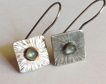 Labradorite Earrings with Textured Silver - 25th Anniversary Gift - Birthday Gift