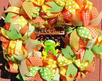 Welcome Frog Wreath, Summer Wreath, Spring Wreath, Summer Welcome Wreath, Spring Welcome Wreath, Large Summer Wreath, Full Spring Wreath