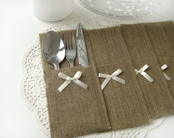 Set of 40 -Burlap Silverware Holders with ivory bow - Rustic table decor