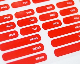Journal Index Transparent Red Stickers / Weekly - 10 sheets (2.75 x 4.35in)