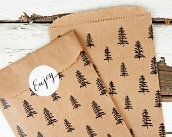 Pine Tree Favor Bags - Wedding, Birthday, Baby, Party Favor Bag - Forest Design - Small Paper gift bags -  10 pack
