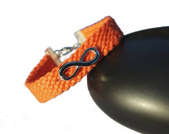 "Cuff friendship bracelet, model ""Infinity"", orange"