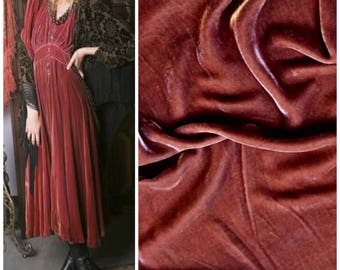 Designer Silk Rayon Velvet Fabric - Antique Dusty Mauve- Sold By The Yard