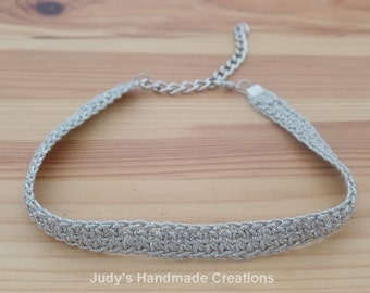 Grey and Silver Lace Choker Necklace, Lace Choker, Crochet Choker, Sparkle Choker,Gray and Silver Choker,  Choker Necklace, Popular Necklace