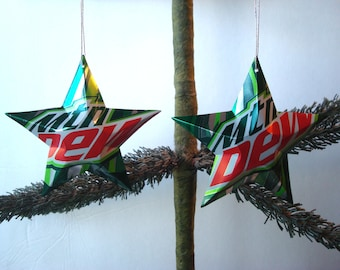 Recycled Mountain Dew Soda Can Aluminum Stars - Set of 2 Handmade Christmas Ornaments