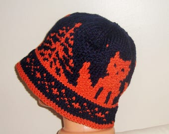 Mens Hats Custom with Brim Blue Orange Fox Knit Cute Adult Lovey Lover Gift for men Choise colors