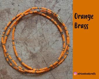 Orange Brass - Waist Beads - Belly Chain - Belly Beads - African Waist Beads - African jewelry