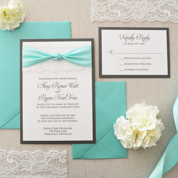 THE KNOT - White Lace Wedding Invitation with Aqua Satin Ribbon Bow- Classic Lace Wedding Invitation - White and Gray Shimmer Card Stock