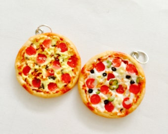 Miniature Pizza Necklace - polymer clay pizza charm necklace - miniature pizza pendant - food jewelry - food jewellery - junk food