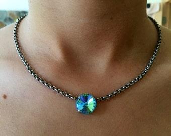SINGLE STONE 14mm Swarovski crystal necklace - select your color crystal rivoli