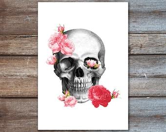Blush pink flowers skull, pink print, spring decor, pastel goth