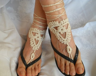 Crochet Barefoot Sandals Ready To Ship Women Summer Sandles Shoes Beads Victorian Anklet Foot Accessories Beach Wear Cotton