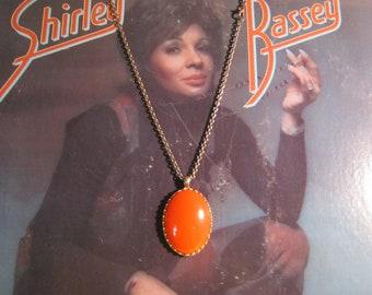 70s Mod Orange Enamel Statement Necklace, Mod, Retro, Vintage