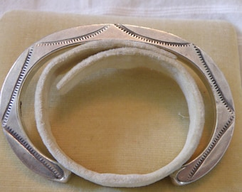 Awesome Native American Hand Wrought Sterling Cuff with design on front and sides
