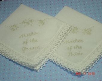 Wedding Handkerchief: mother of bride,groom,  set of 2,ecru simply elegant/hand embroidered/dated