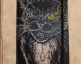 Black Cat Poe Notebook Journal - 240 pages - sewn bound - 8.5 x 6 - split blank/lined pages