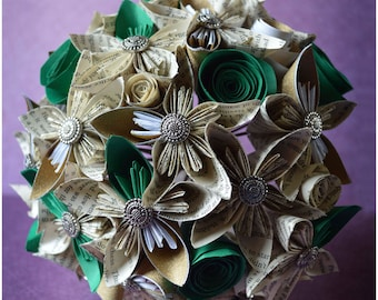 Paper Flower Bridal Bouquets - Harry Potter Book Pages - CUSTOM made for your UNIQUE wedding!