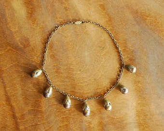 vintage 1940s necklace / 40s brass bauble collar necklace