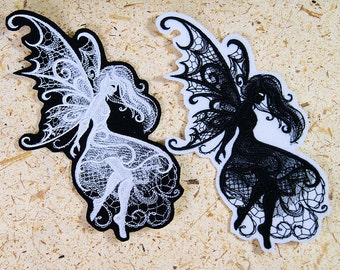 Fairy Midnight Creatures Baroque Iron On Embroidery Patch MTCoffinz - Choose Size / Color
