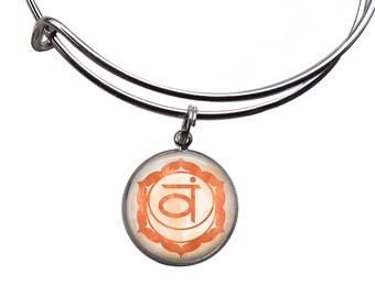 Sacral Chakra Charm Bangle | Chakra Bracelet Boho Bracelet Sacral Chakra Bangle Svadhisthana Chakra Orange Chakra Jewelry Yoga Bracelet