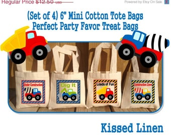 Construction Trucks Treat Favor Bags Mini Cotton Totes Children Kids Guests Construction Trucks Favor Treat Gift Bags - Set of 4
