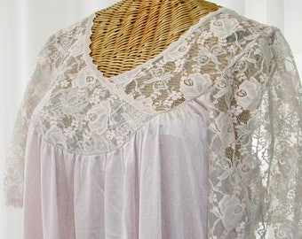 60s Nightgown Alan R Pink Open Bust Sheer Lace Unworn Large