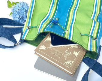 Green and Blue Striped Bucket Bag with  Adjustable Strap