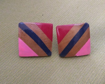 Funky Wooden Retro Post Earrings