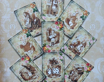 9 Alice in Wonderland ATC's or STICKERS- Alice in Wonderland greeting cards, Wonderland party favors, Alice in Wonderland art trading cards