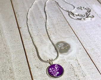 12mm Purple Younique Flourish Charm Necklace / 16 inch Snake Chain with Extenstion / Gift Swag Ideas