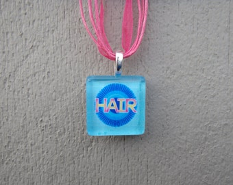 Broadway Musical Hair Glass Pendant and Ribbon Necklace