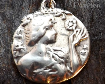 Floral Garden Goddess - Pewter Pendant - Flower Necklace, Nature Jewelry
