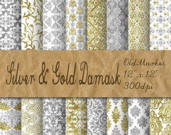 SALE - Silver and Gold Damask Digital Paper - Silver and Gold Decorative Backgrounds - 16 Designs - 12x12in - Commercial Use - INSTANT DOWNL