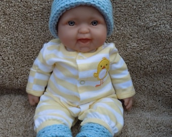 Newborn Hat and Booties Set - Blue