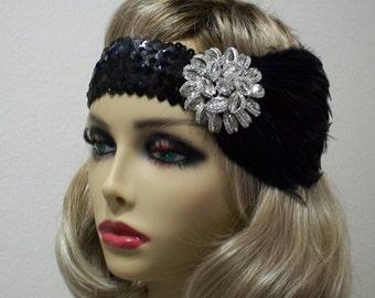 Black 1920s Headband, Rhinestone Headband, The Great Gatsby, 1920s Event, Flapper Headpiece, 1920s Headpiece, Jazz Age, BloomsfromtheHeart