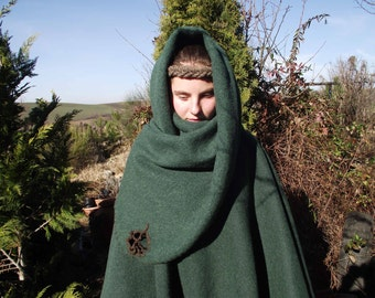 Elven cloak from green cashmere
