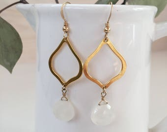 Faceted Moonstone and Gold Marquees Earrings