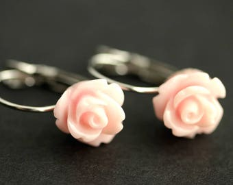 Pink Rose Dangle Earrings. Flower Earrings. Silver Leverback Earrings. Pink Earrings. Pink Rose Earrings. Flower Jewelry. Handmade Earrings.