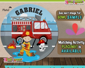 Firetruck Plate and Bowl Set - Personalized Plastic Children Plate Cereal Bowl - Choose HAIR SKIN color - Personalized Fire Truck Plate