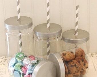Plastic Mason Jar,12 Plastic Mason Jars with Lids, Plastic Jar, SEAL TIGHT & SPILL Proof Lids, Mason Jar Wedding Favors, Plastic  Candy Jars
