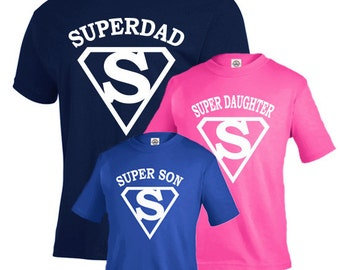 Fathers day gift, Matching father son shirts, father daughter shirts, Super dad shirt, fathers day, new dad gift