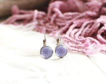 Sinbad earrings, drop earrings, stainless steel, graphic design, purple, Arabian Nights, for women