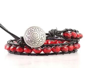 Red Beaded Black Leather Wrap Bracelet Bohemian Jewelry Red Heart Bracelet Double Wrap Leather Jewelry