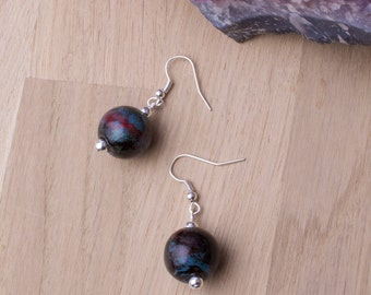 Bille en céramique boucles d'oreilles - Boucles d'oreilles boules marbrées | Boucles d'oreilles pendantes rondes | Bijoux en céramique marbré à la main |
