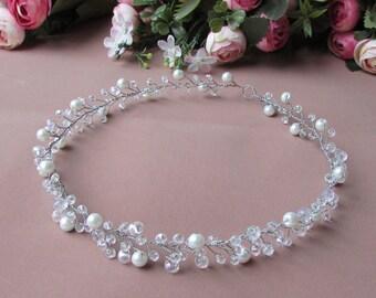 Wedding hair vine Bridal hair piece crystals Bridal circlet Wedding pearl hair vine Bridal hair vine Crystal headband