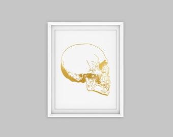 Skull art print, gold skull decor, gold anatomy art, anatomy print, anatomy poster, anatomy poster, anatomy decor, human anatomy art print