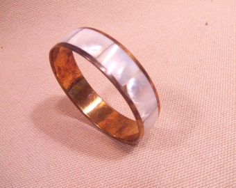 Bracelet Brass  and Mother of Pearl   -- old jewelry  -- heavy patina( FREE SHIPPING SALE)