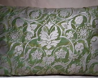 Fortuny Fabric Throw Pillow Cushion Cover in Green & Gold Persepolis Pattern - Made in Italy